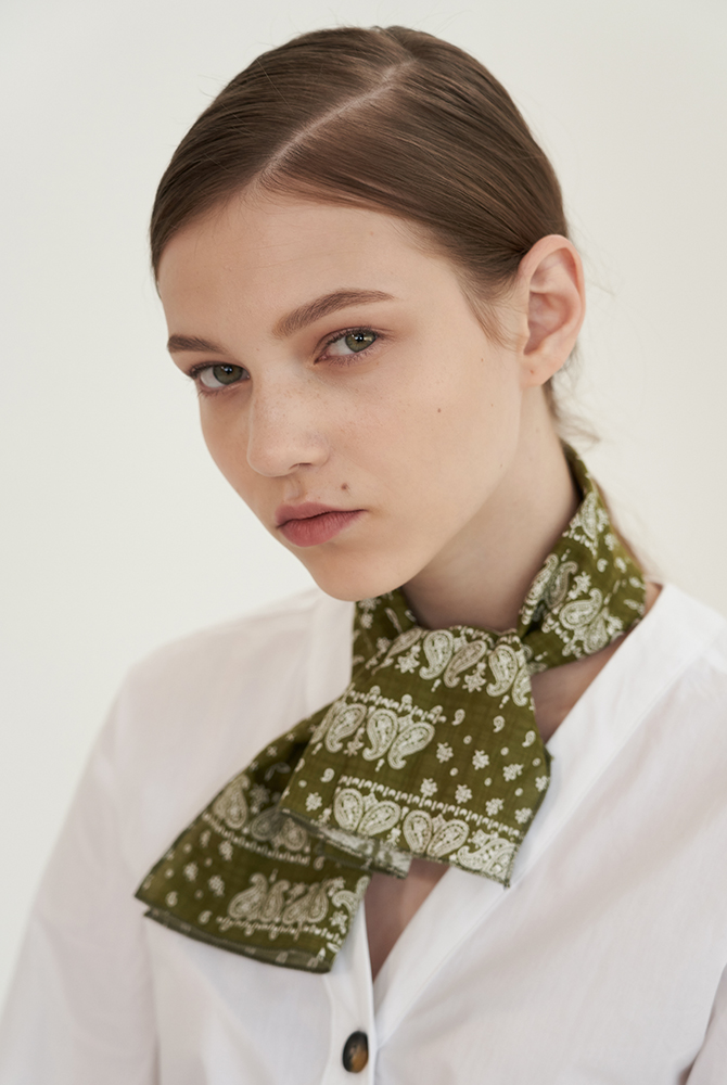 ribbon paisley mini scarf - green