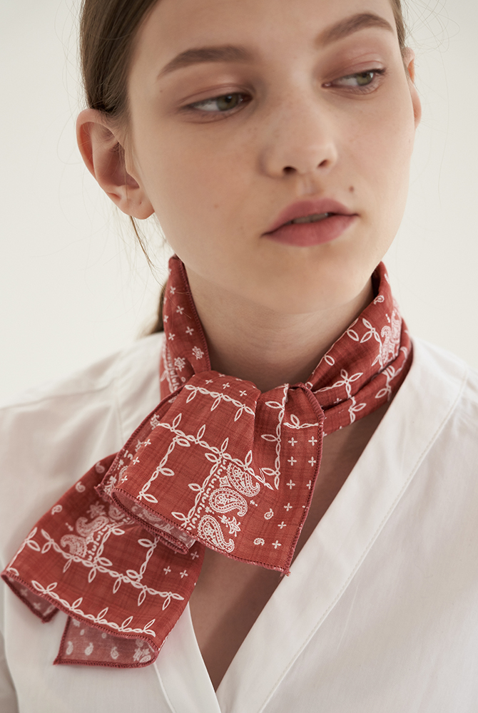 ribbon paisley mini scarf - orange brown