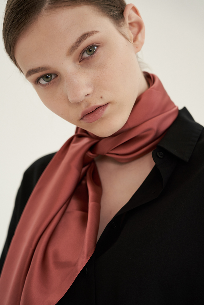 solid silk scarf - coral