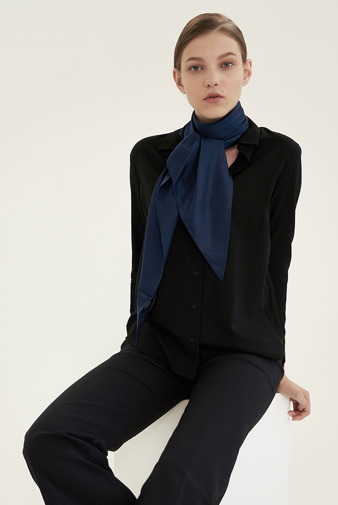 solid silk scarf - navy