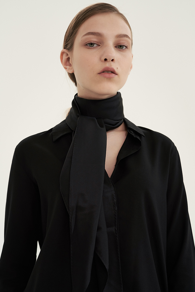 solid silk scarf - black