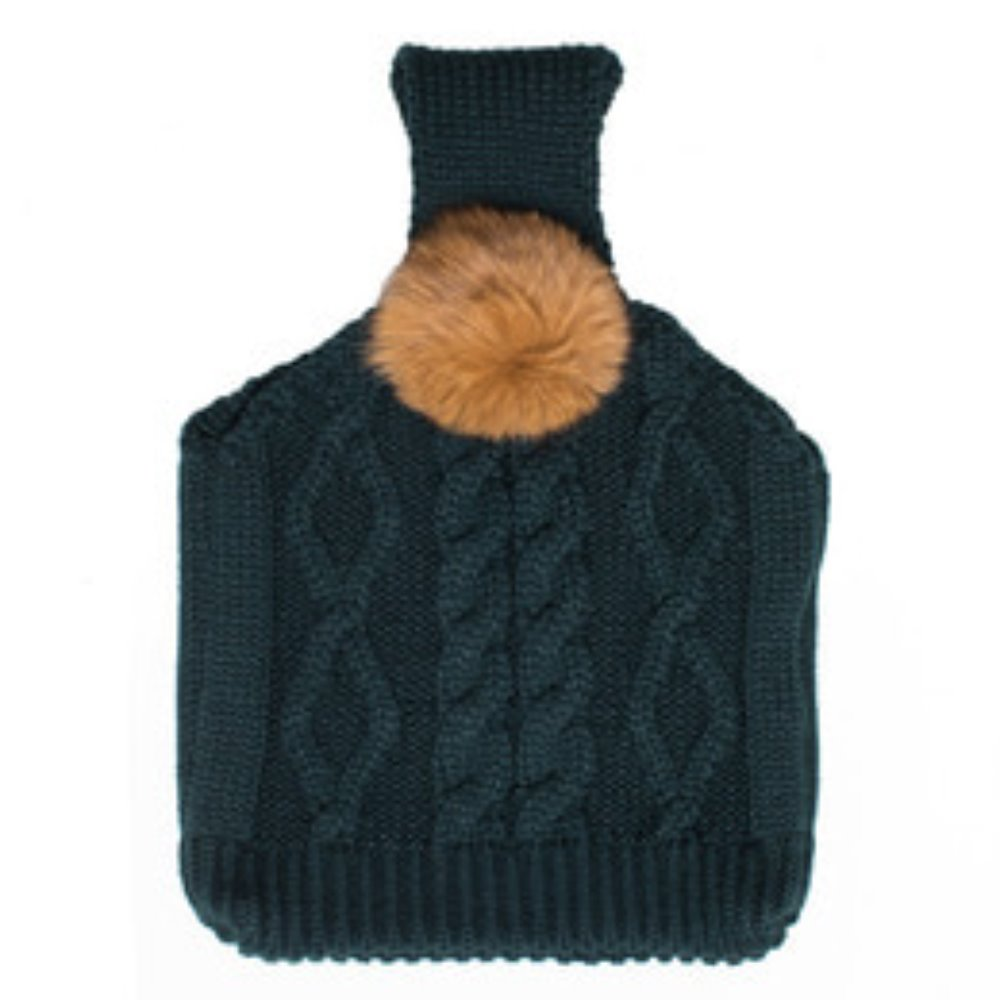 pompom knit bag green