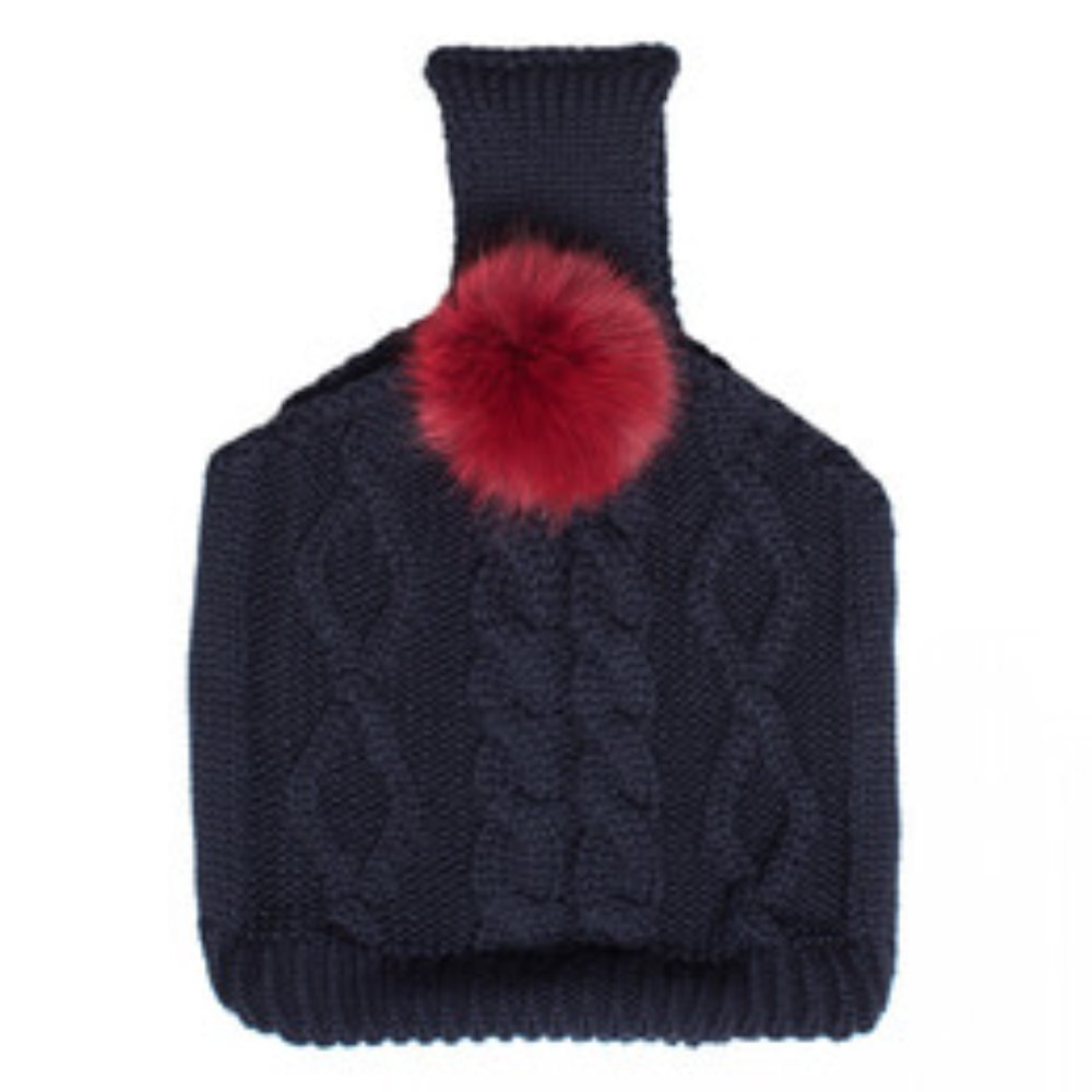 pompom knit bag navy