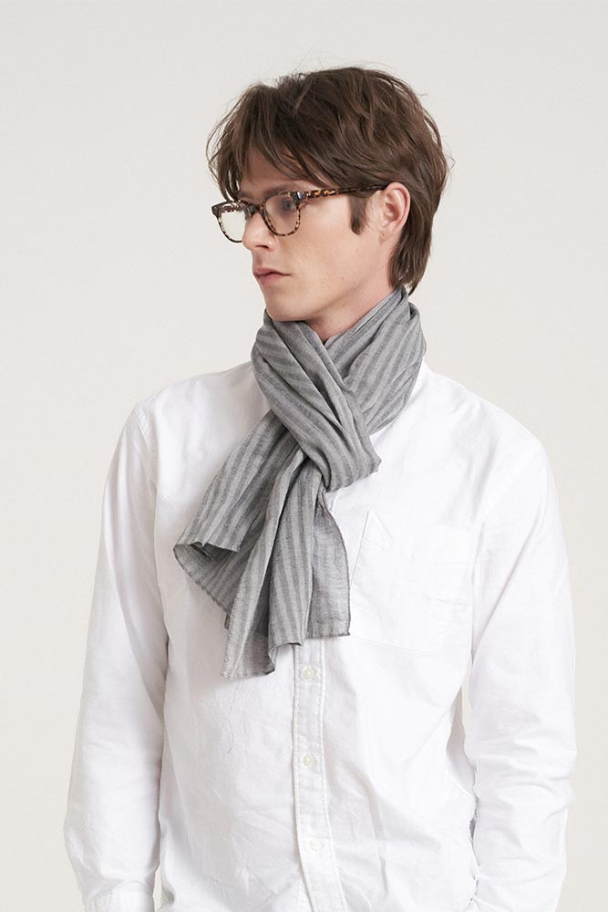 Solid stripe scarf - grey