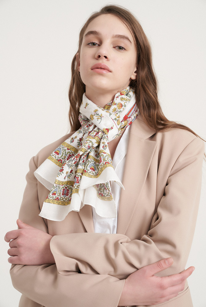 Byzantine cotton scarf - white