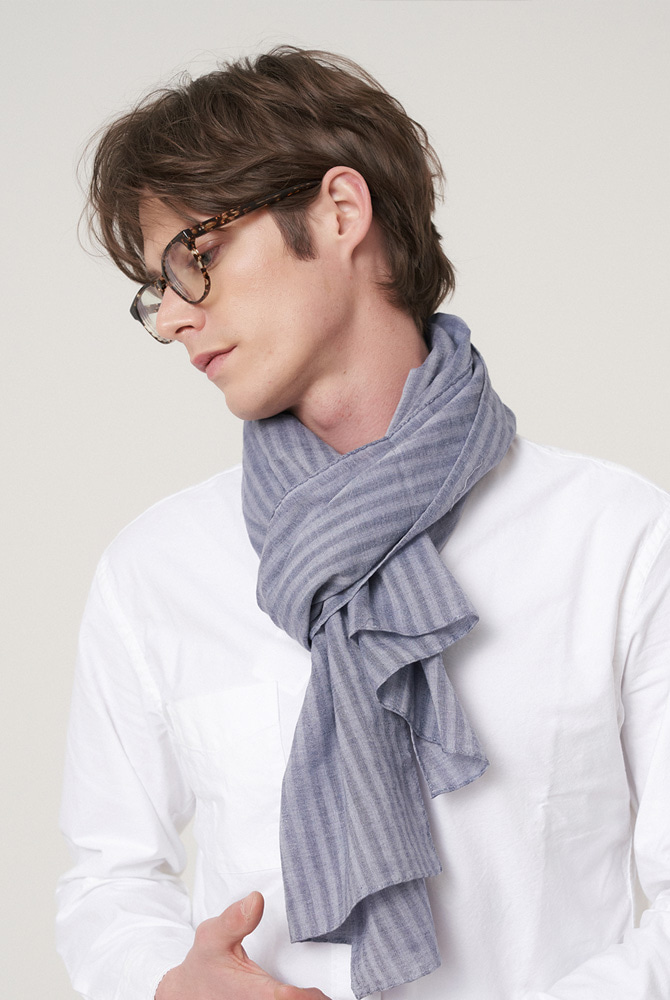 Solid stripe scarf - navy