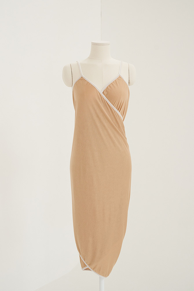 basic wrap dress-beige
