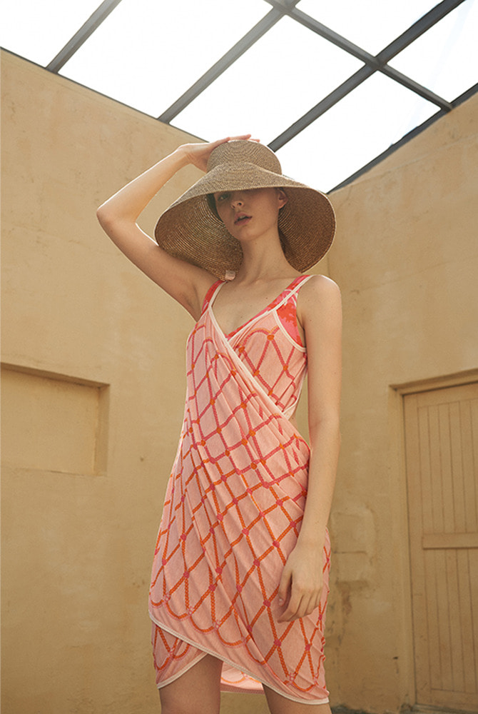 rope wrap dress-pink