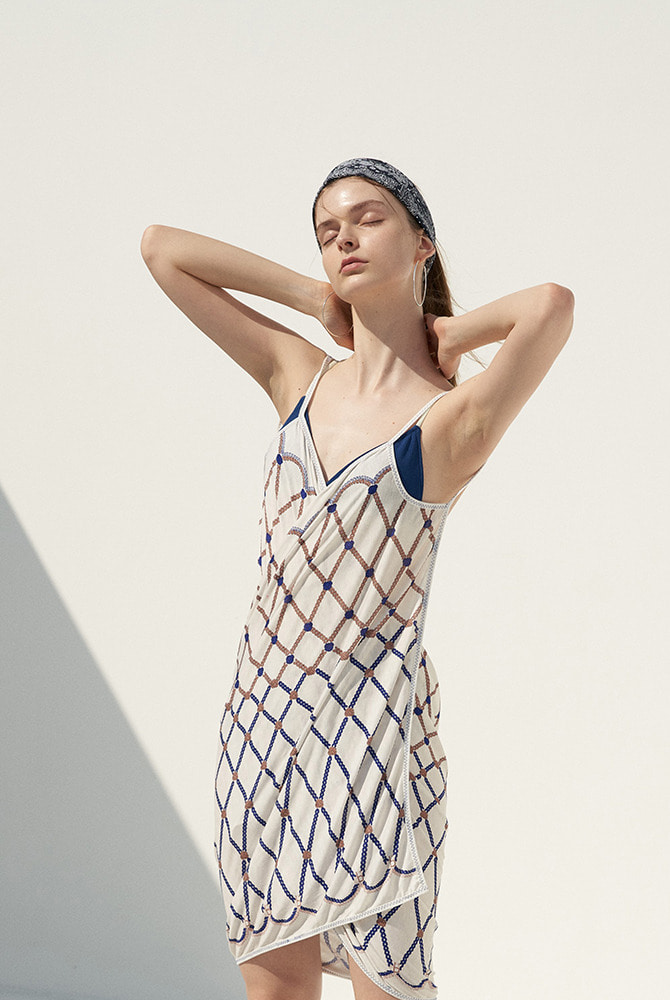 rope wrap dress-white