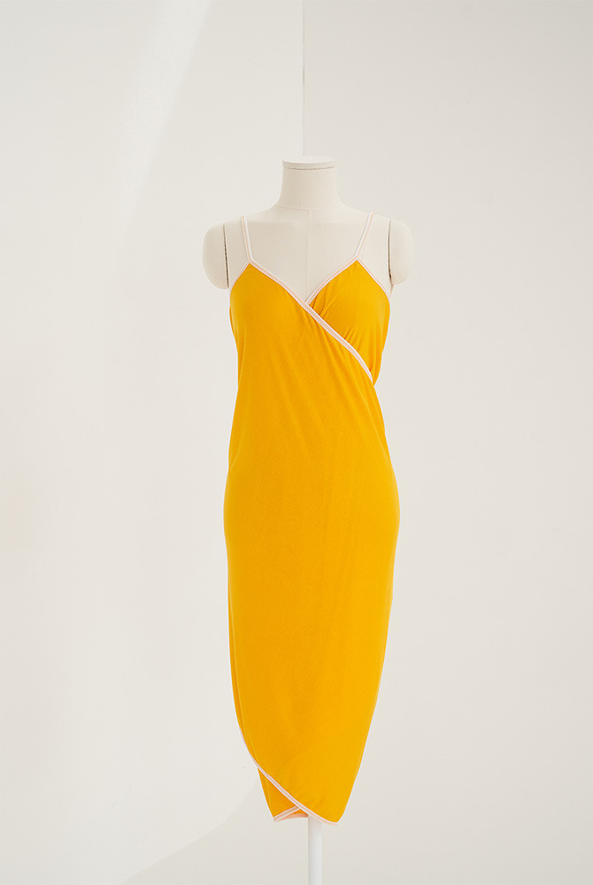 basic wrap dress-yellow