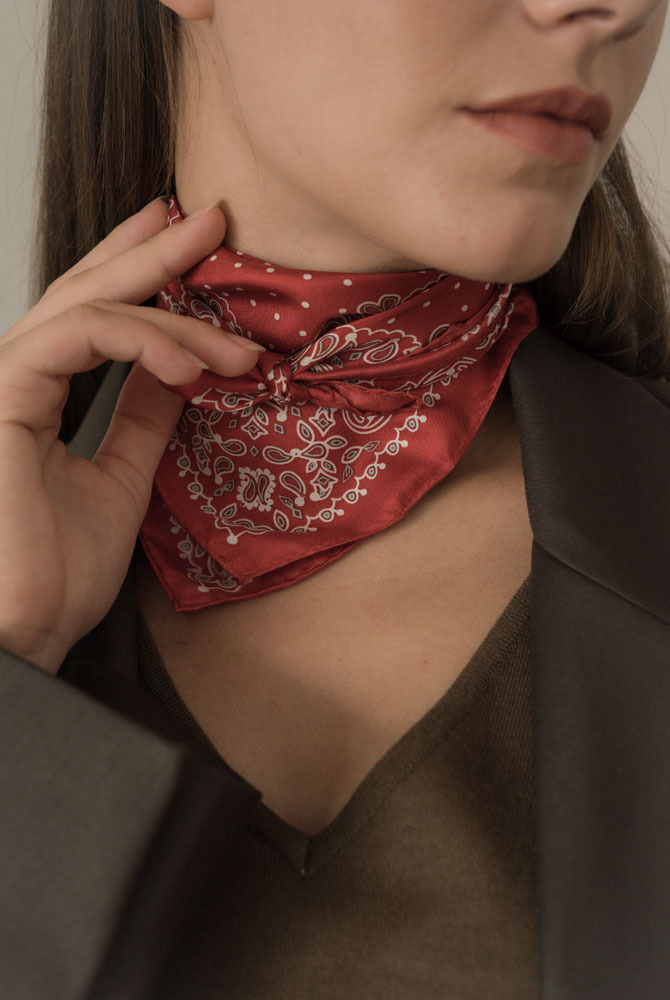 dot paisley silk scarf -red