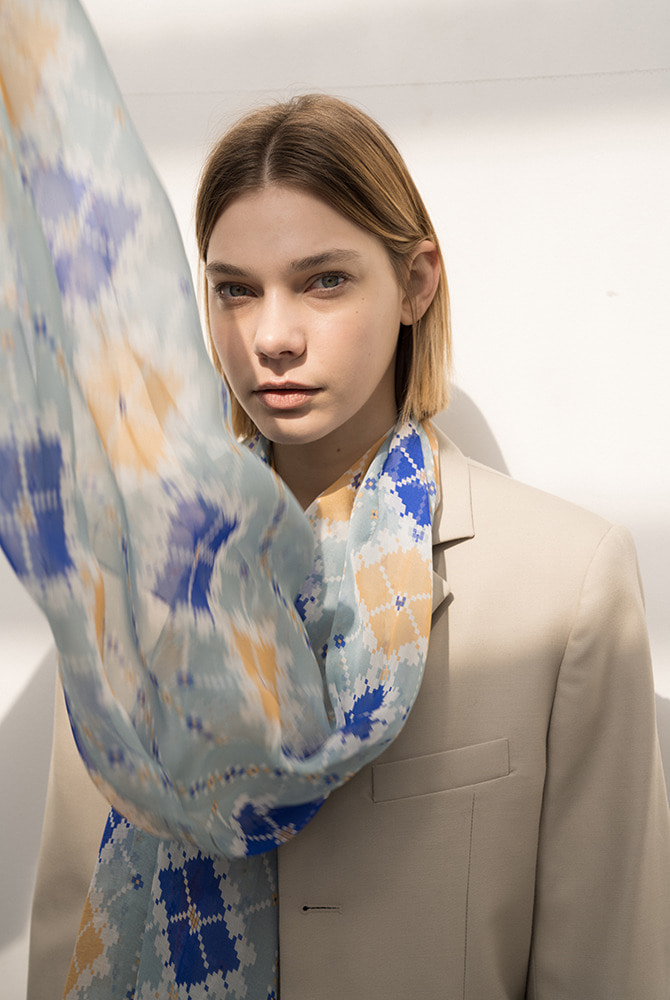 claire silk scarf - blue