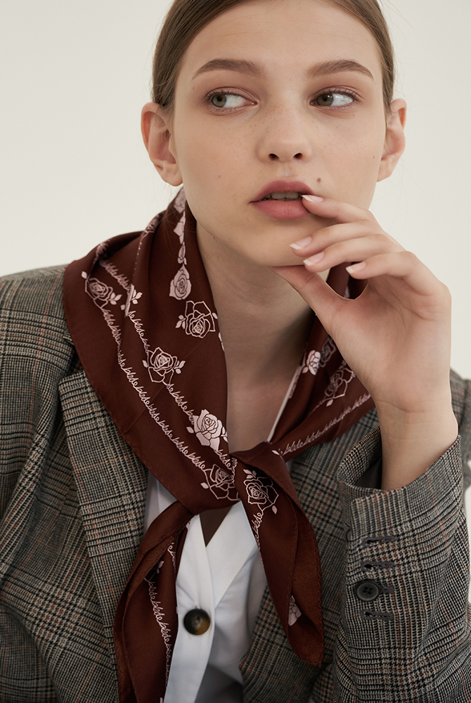 rose silk scarf - brown 10%sale