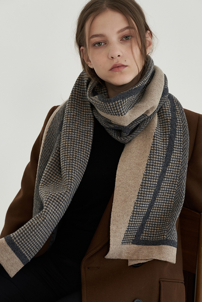 (2 version-wool/cashmere)cross check muffler-grey 10%sale